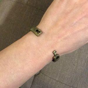 Jewelmint antique brass key and lock cuff